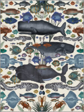 Wood print  Whales and other marine animals