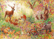 Acrylic print  Enchanted autumn forest with animals - Heather Kilgour
