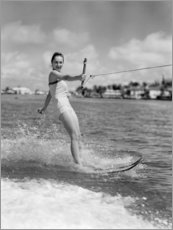 Acrylic print  Water skiing in the 50s