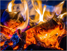 Wood print  Crackling fire