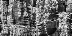 Acrylic print  Stone faces in Bayon Temple, Cambodia