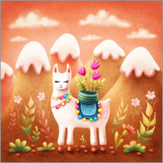 Gallery print  Llama with flowers - Elena Schweitzer
