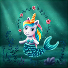 Premium poster  Little mermaid unicorn - Elena Schweitzer