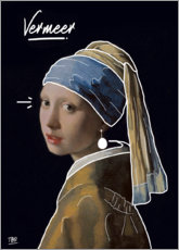 Canvas print  The girl with the pearl ear-hanger sketch - TBRINK