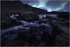 Foam board print  Northern lights at the waterfall, Iceland - Christian Möhrle