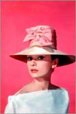 Premium poster  Audrey Hepburn - pink - Celebrity Collection
