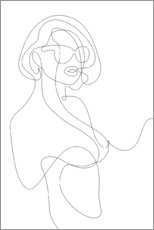 Canvas print  Woman with sunglasses - lineart - Sasha Lend