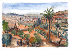 Premium poster  View into the Kidron Valley, Jerusalem - Hartmut Buse