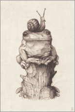 Poster  The frog and the snail, vintage - Mike Koubou