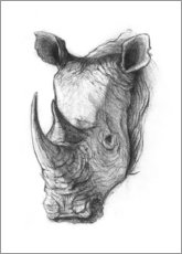 Gallery Print  Rhino portrait, black and white - Mike Koubou