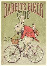 Wood print  Rabbits Biker Club - Mike Koubou