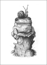 Gallery Print  The frog and the snail, black and white - Mike Koubou