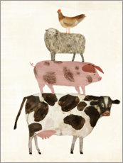 Wood print  Farm Buddies II - Grace Popp