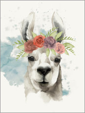 Canvas print  Lama with flower crown I - Grace Popp
