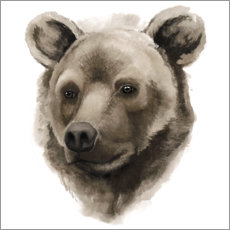 Wood print  Grizzly portrait - Grace Popp