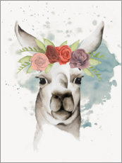 Premium poster  Lama with flower crown II - Grace Popp