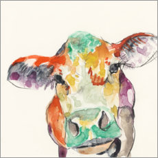 Wood print  Hi-Fi cow - Jennifer Goldberger