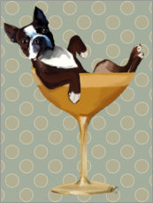 Acrylic print  Boston Terrier in Cocktail Glass - Fab Funky
