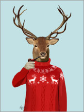 Premium poster  Deer in sweater - Fab Funky