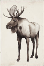 Wood print  Moose in the far north - Grace Popp