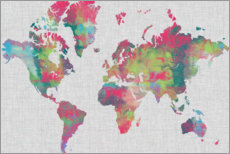 Wood print  Artistical Map of the World - Jennifer Goldberger