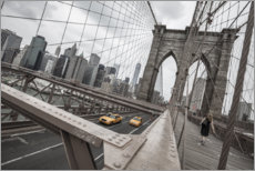 Canvas print  Brooklyn Bridge with yellow taxis - nitrogenic