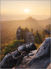 Premium poster  Evening in the Elbe Sandstone Mountains - Tobias Richter