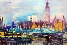 Premium poster Leipzig roof landscape with city hall
