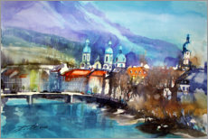 Acrylic print  View to the Inn Bridge and Innsbruck Cathedral - Johann Pickl