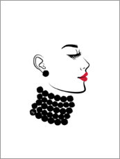 Aluminium print  Woman with pearls - Martina illustration