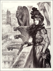 Premium poster  Beauty and the beasts on the roof of Notre Dame - Charles Paul Renouard
