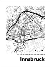 Canvas print  City map of Innsbruck - 44spaces