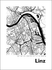 Acrylic print  City map of Linz - 44spaces