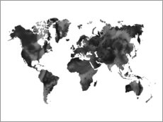 Wood print  World Map in Black - Nouveau Prints