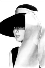 Canvas print  Audrey Hepburn in hat - Celebrity Collection