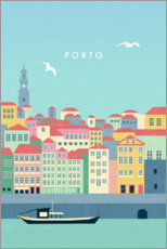 Wood print  Porto Illustration - Katinka Reinke