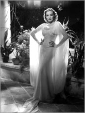 Premium poster  Marlene Dietrich in a white chiffon dress