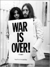 Wood print  Yoko & John - War is over!