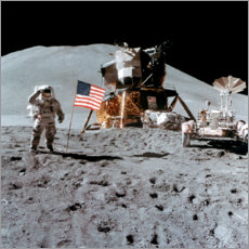 Canvas print  James Irwin gives a salute on the Moon