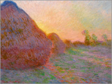 Wood print  Haystacks - Claude Monet