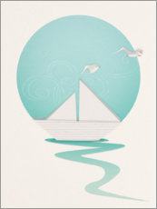 Canvas print  Paper boat and seagulls - Sybille Sterk