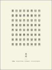 Aluminium print  I Ching Chart With 64 Hexagrams (King Wen sequence) - Thoth Adan