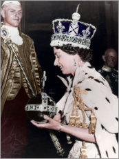 Wood print  Queen Elizabeth II after her coronation