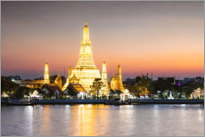Wood print  Dawn in Wat Arun, Bangkok - Matteo Colombo