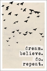 Wood print  Dream believe do repeat - treechild