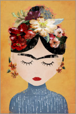 Wood print  Frida with flower wreath - treechild