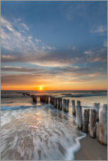 Premium poster  Sunset at the groyne - Heiko Mundel