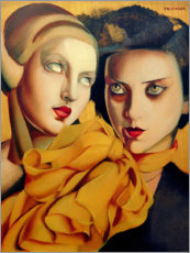 Wood print  The orange scarf - Tamara de Lempicka