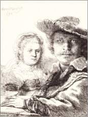 Wood print  Self portrait drawing with Saskia - Rembrandt van Rijn