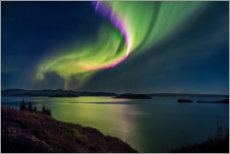 Canvas print  Northern light over the Thingvallavatn